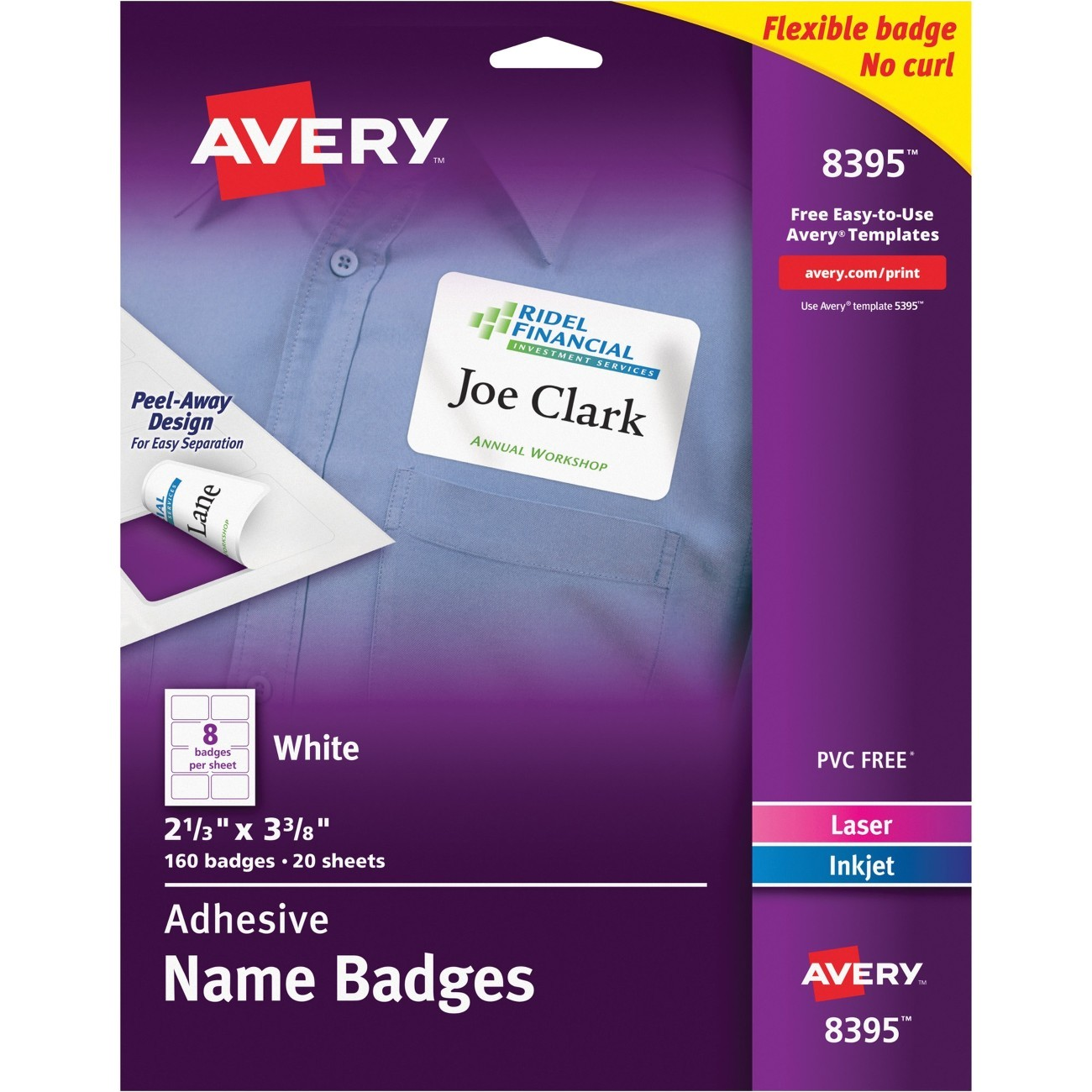 Avery White Adhesive Name Badges 8395 Template Ave8395 Avery Name Badge Label Myofficeinnovations Com