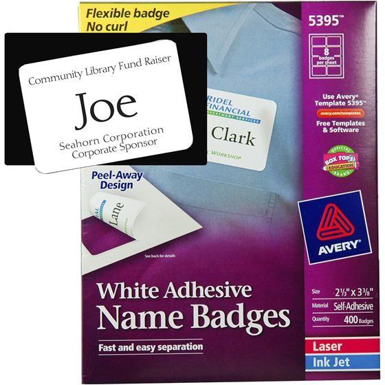 8 white adhesive name badges box of 400