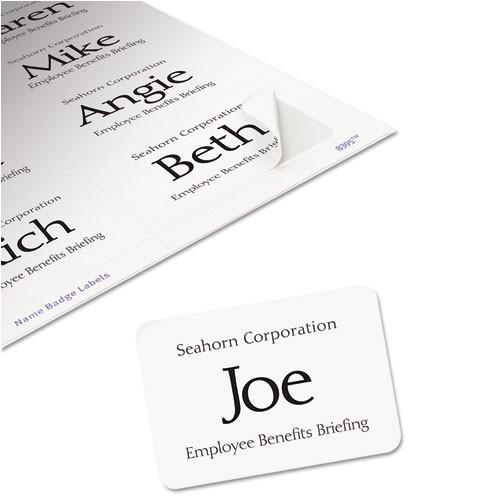 flexible self adhesive laserinkjet name badge labels 2 13 x 3 38 we 160pk ave8395