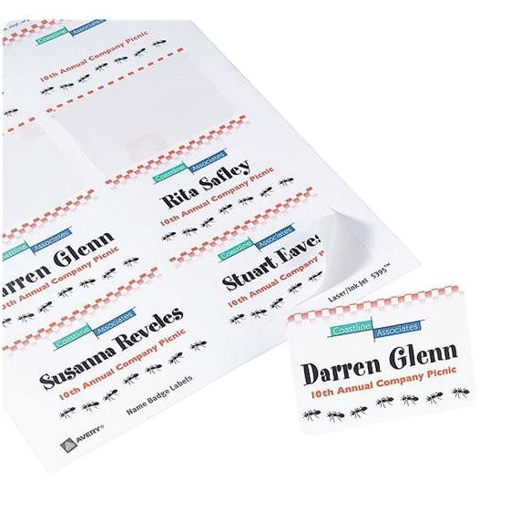 Avery White Adhesive Name Badges 8395 Template Avery 8395 White Adhesive Name Badges 2 1 3 X 3 3 8