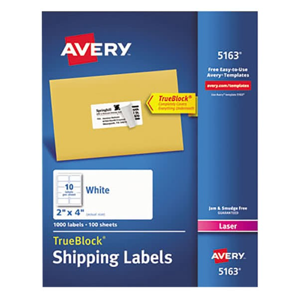 Avery White Shipping Labels 5163 Template Avery 5163 2 Quot X 4 Quot White Shipping Labels 1000 Box