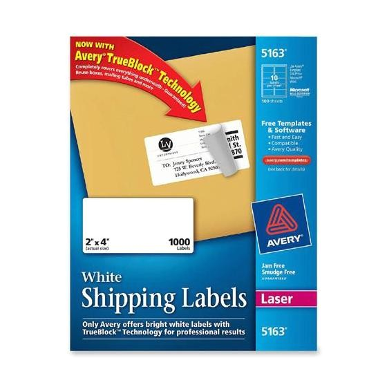 avery 5163 2 x 4 white laser shipping labels box of 1000