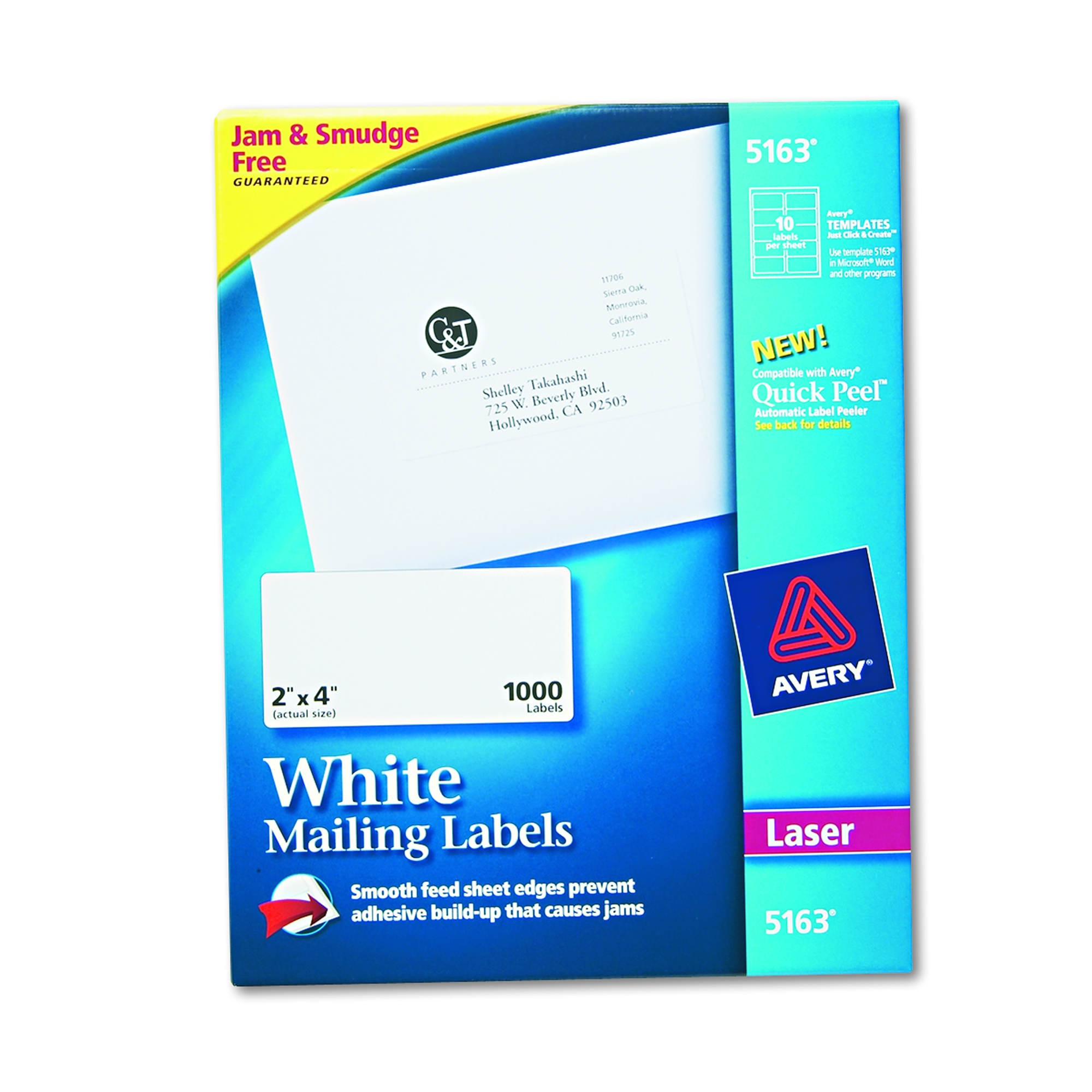 avery 5163 shipping labels with true block technology 2 x 4 1000 ct white product 34622