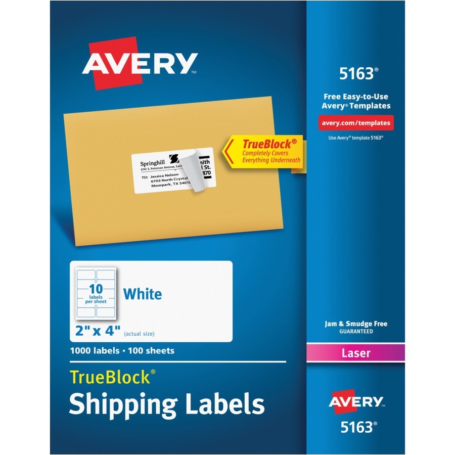 Avery White Shipping Labels 5163 Template Avery Shipping Labels with Trueblock Technology Ave 5163