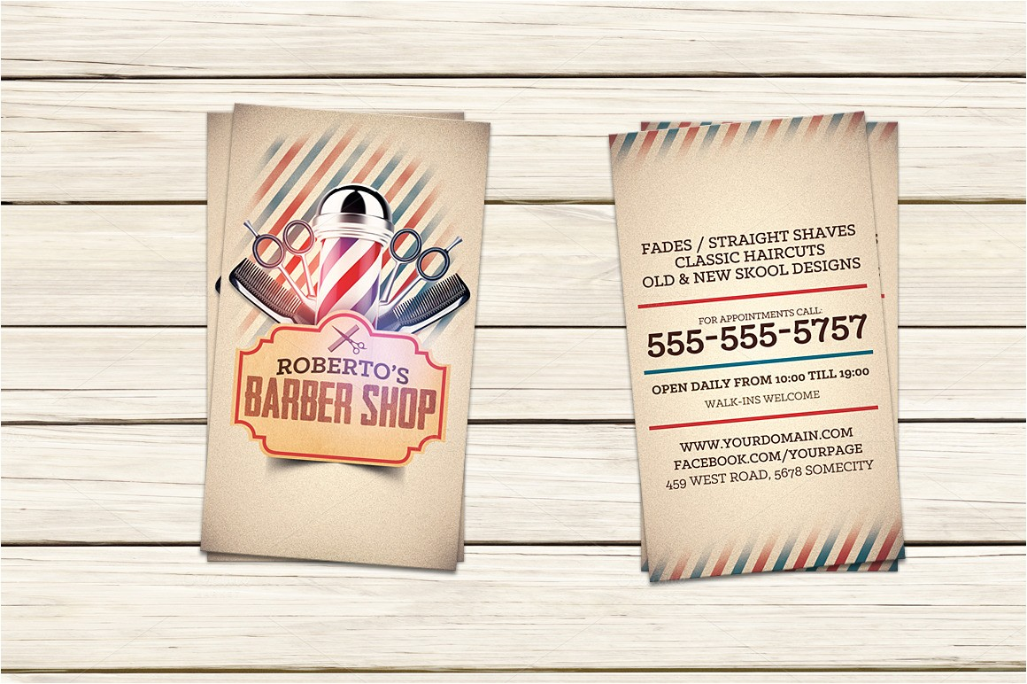 302442 barber shop business card template