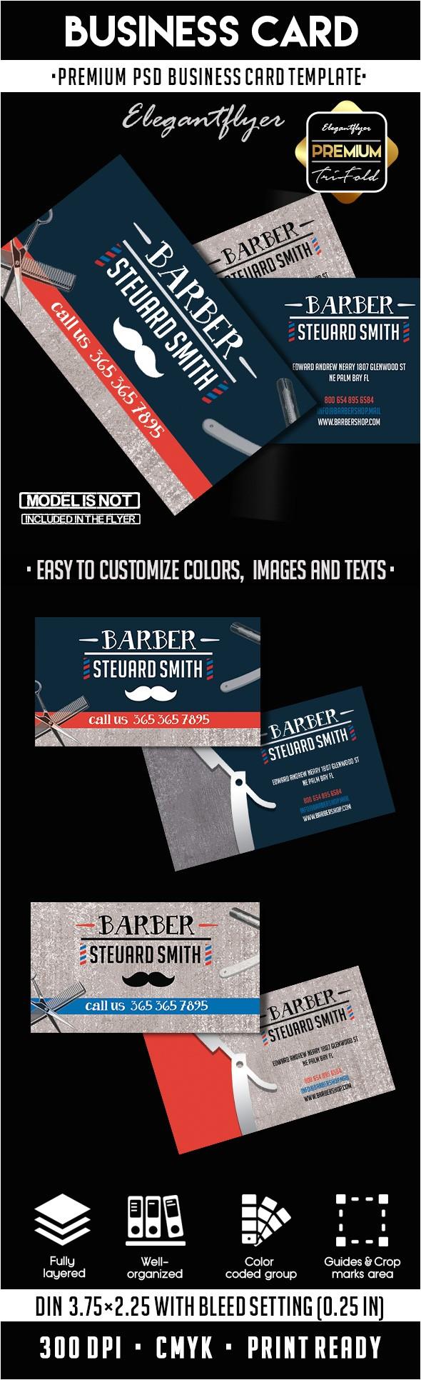 barber shop premium business card psd template