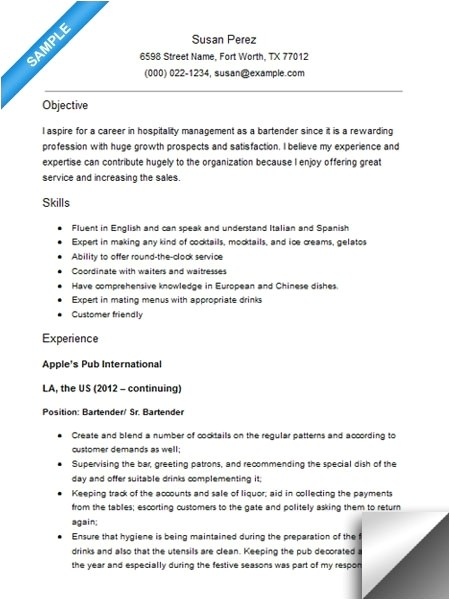 Bartender Resume Objective Samples Bartender Resume Example Template Learnhowtoloseweight Net