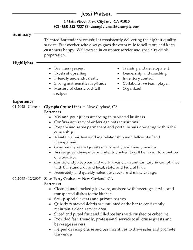 Bartender Resume Objective Samples Bartender Resume Examples Free to Try today