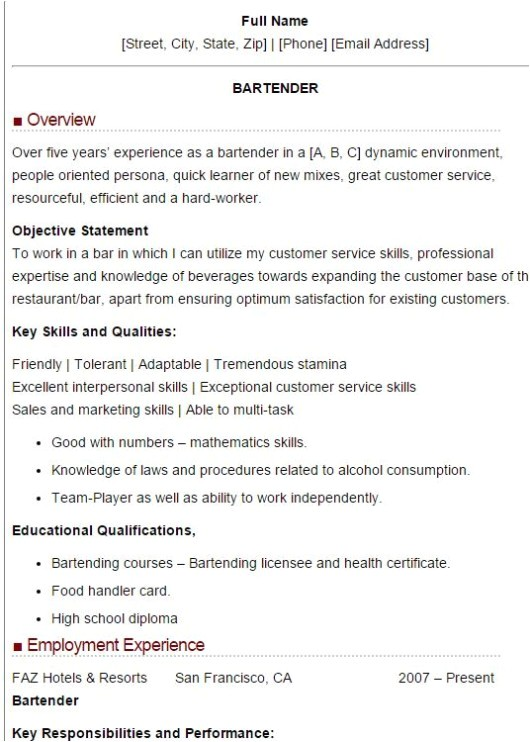 bartender resume samples and tips