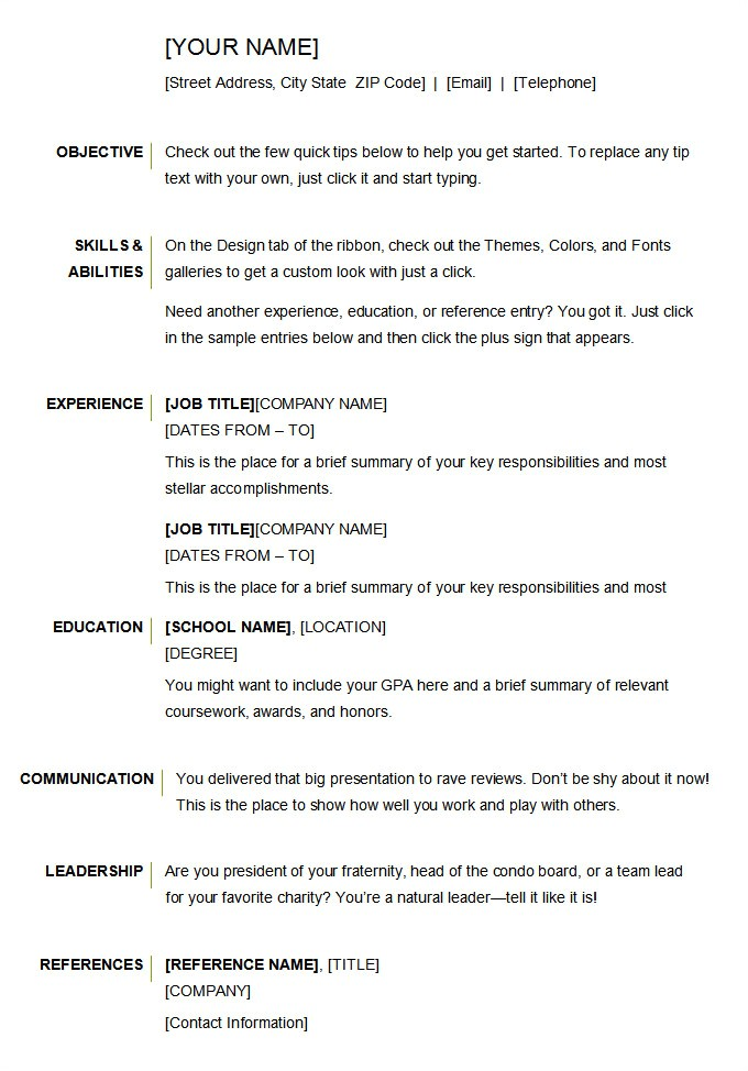 Basic Resume Template Download Microsoft Word Resume Template 49 Free Samples