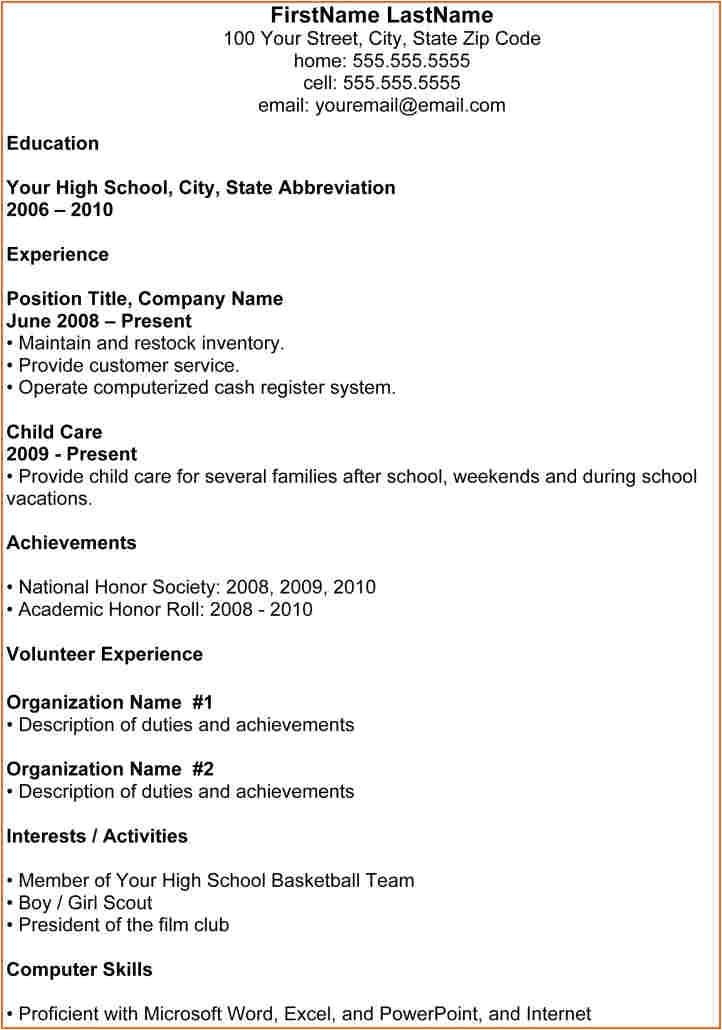 7 basic high school resume template