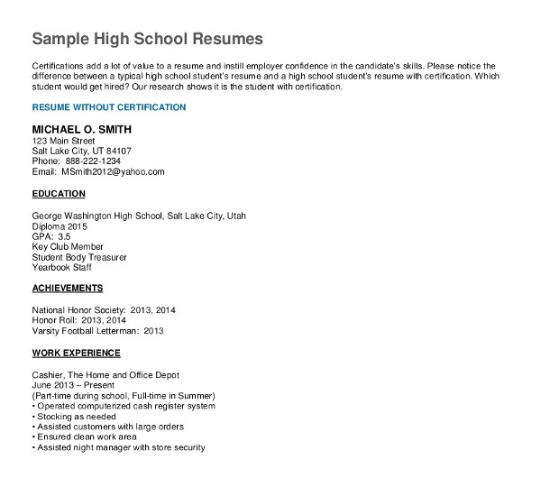 cv sample high school graduate