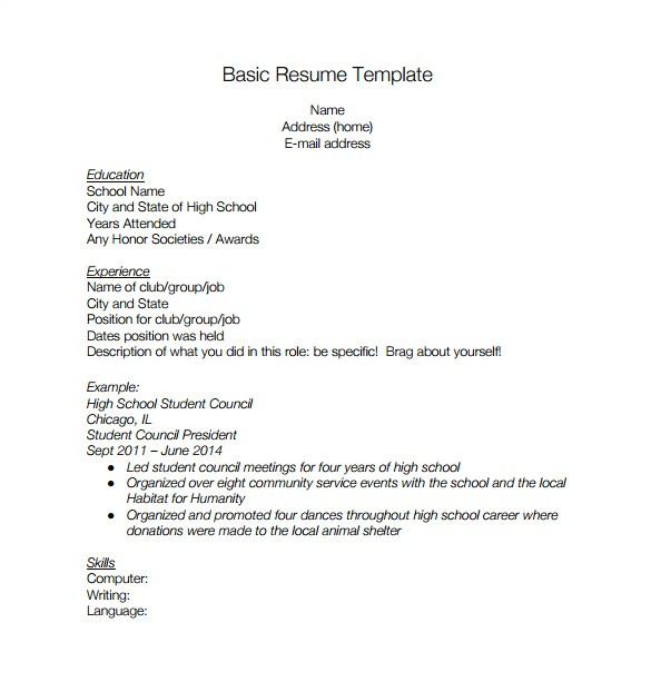Basic Resume Template for High School Graduate High School Resume Template 9 Free Word Excel Pdf