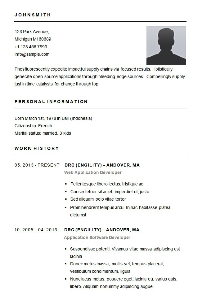 Basic Sample Resume 70 Basic Resume Templates Pdf Doc Psd Free