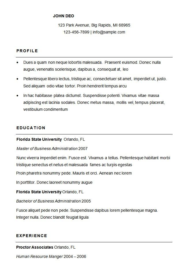 Basic Template for Resume 70 Basic Resume Templates Pdf Doc Psd Free