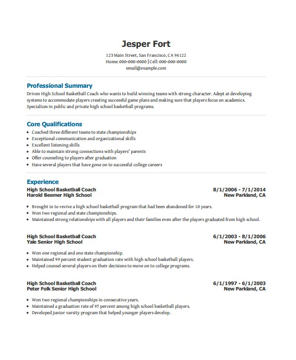 Basketball Resume Template for Player Coach Resume Template 6 Free Word Pdf Document