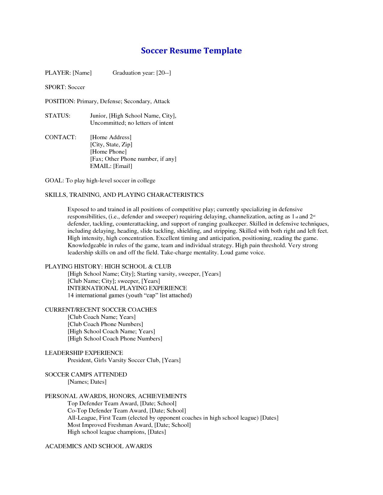 soccer coaching cover letter example