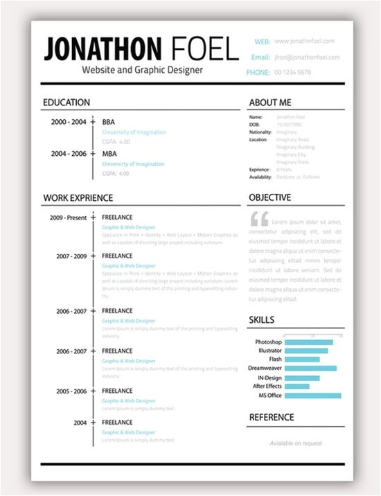 free creative resume cv templates