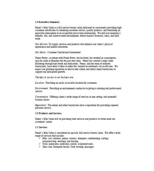 spa salon business plan template