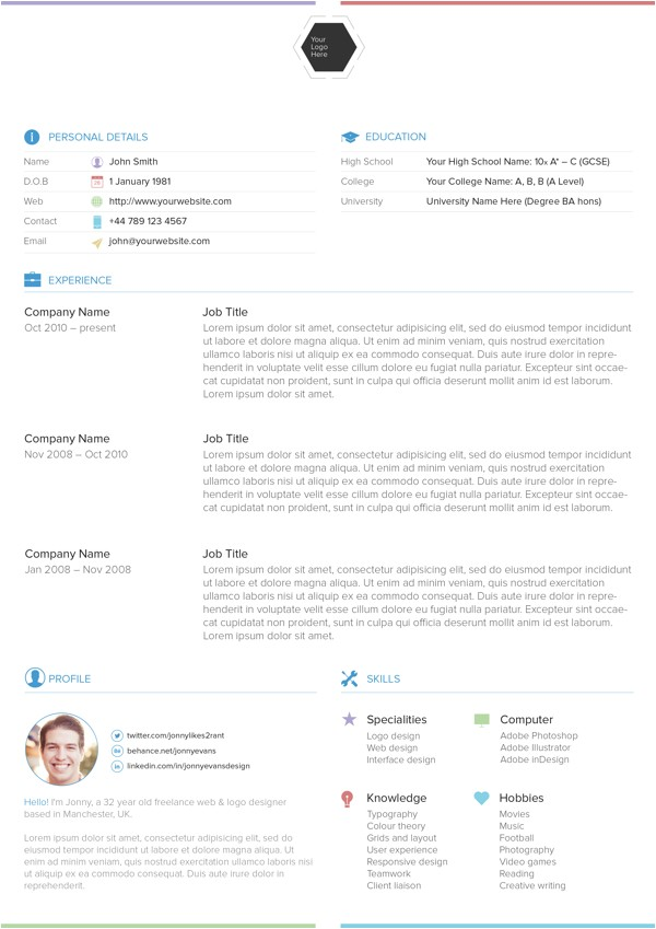 Best Professional Resume Templates 25 Best Free Professional Cv Resume Templates 2014