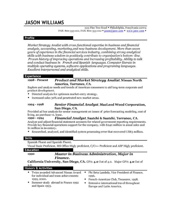 Best Sample Resume Templates Sample Resume 85 Free Sample Resumes by Easyjob Sample