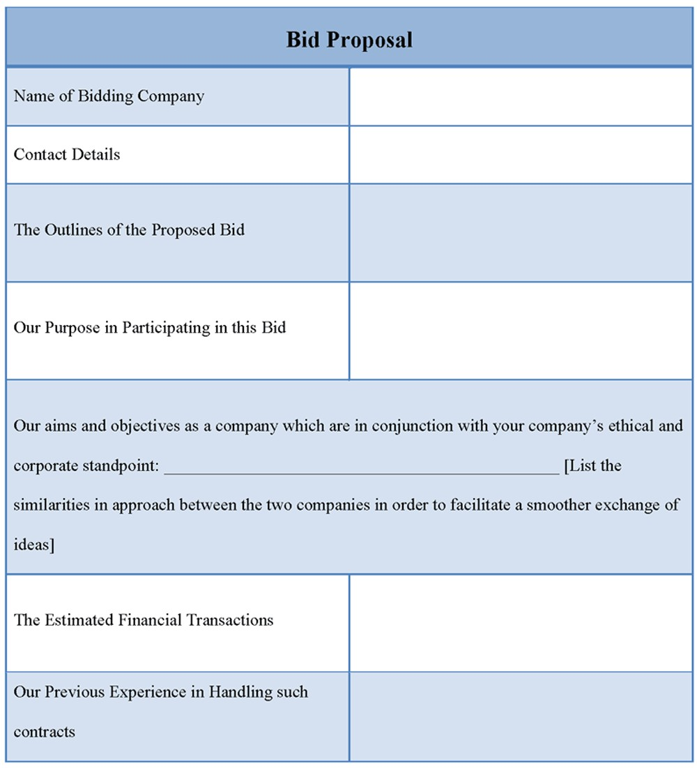 Bid Proposals Templates Bid Proposal Template Free Printable Documents