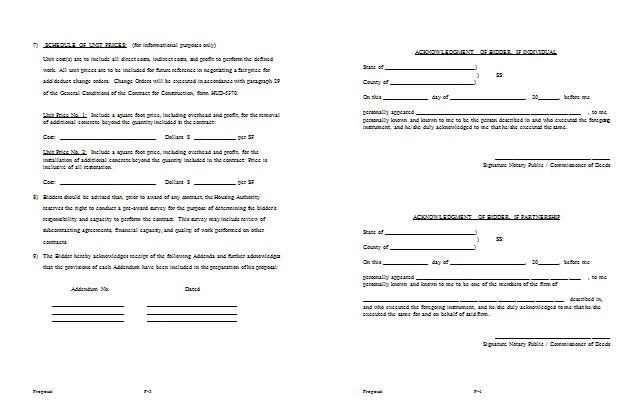 construction bid proposal example
