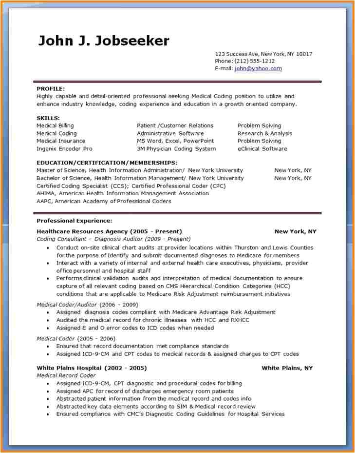 Billing Specialist Resume Template 5 Sample Resume for Medical Billing Specialist Simple Bill