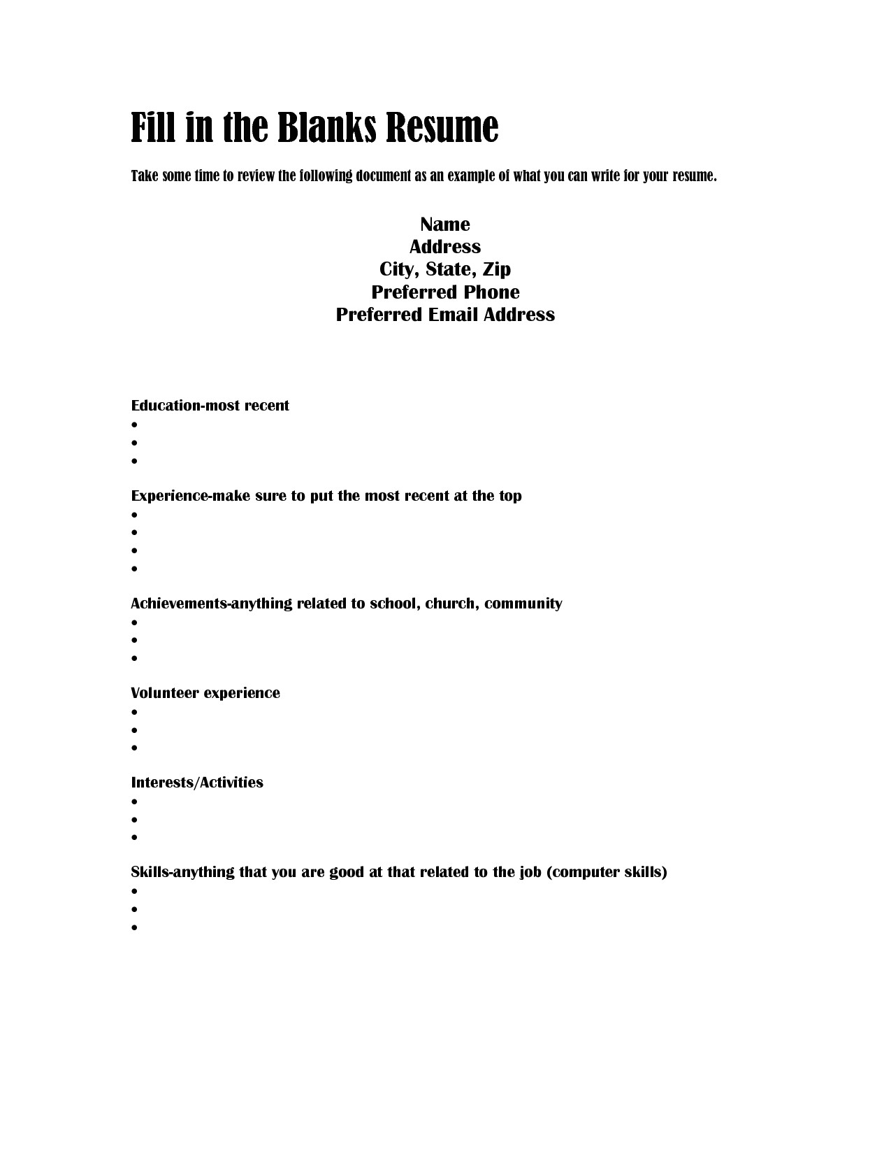 Blank Resume Template to Fill In Best Photos Of Job Resume Fill Blank Blank Fill Job