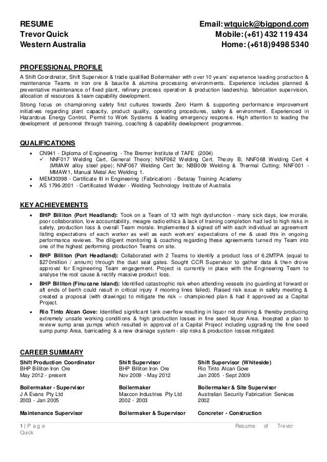 boilermaker resume