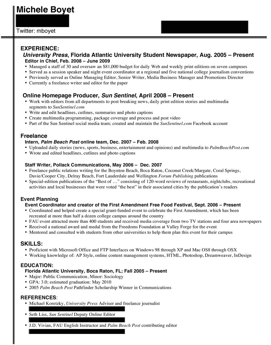 college journalists resume broadcast journalism examples good resume experience staff writer