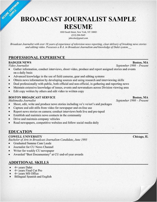 cover letter journalist job