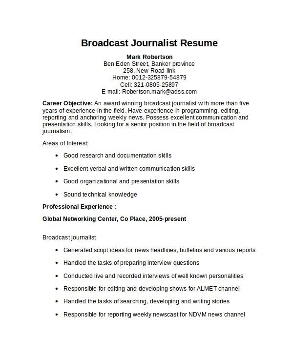 Broadcasting Internship Resume Sample Journalist Resume Template 5 Free Word Pdf Document