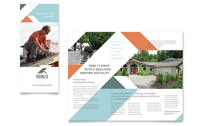roofing company brochure template design co0110101