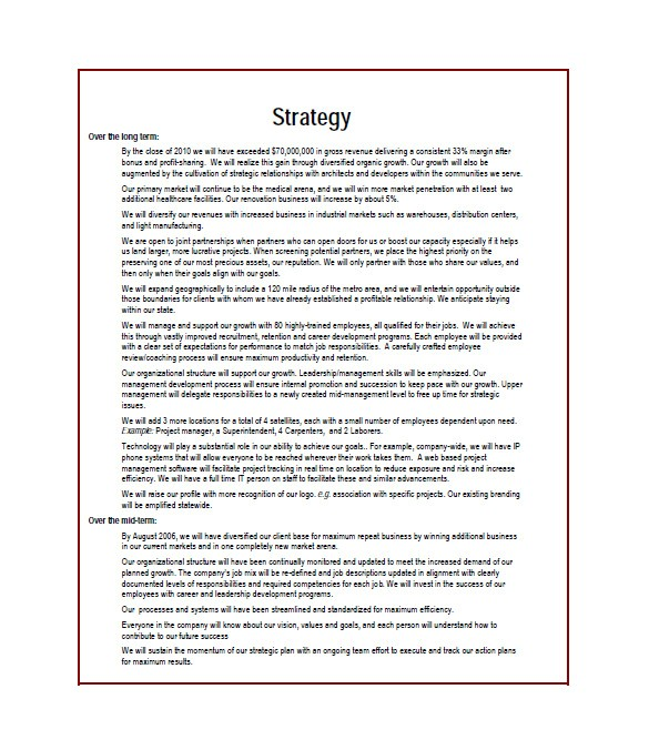 Building A Business Plan Template Construction Business Plan Template 12 Free Word Excel
