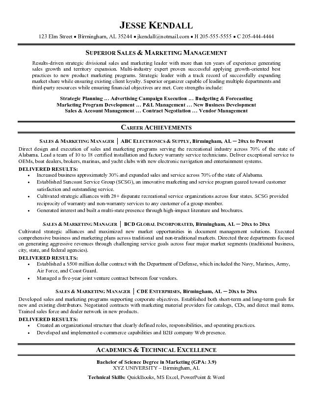 sales and marketing manager resume 1099