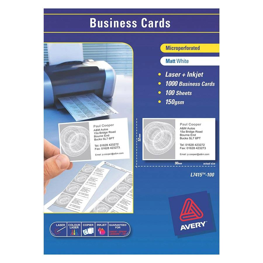 avery laser business cards l7415 90x52mm labl5875