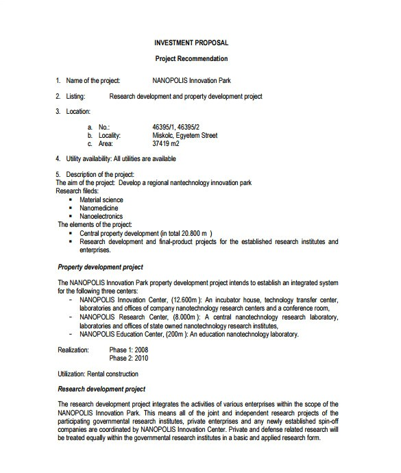 investment proposal template sample