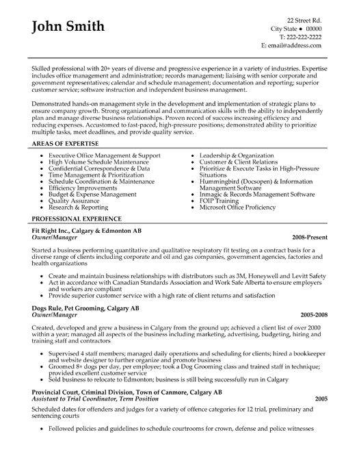 business owner resume sample