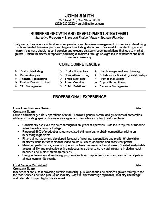 Business Owner Resume Sample Franchise Business Owner Resume Template Premium Resume