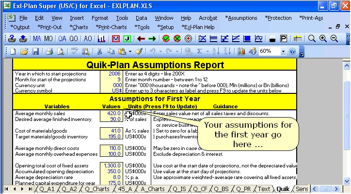 excel business plan template