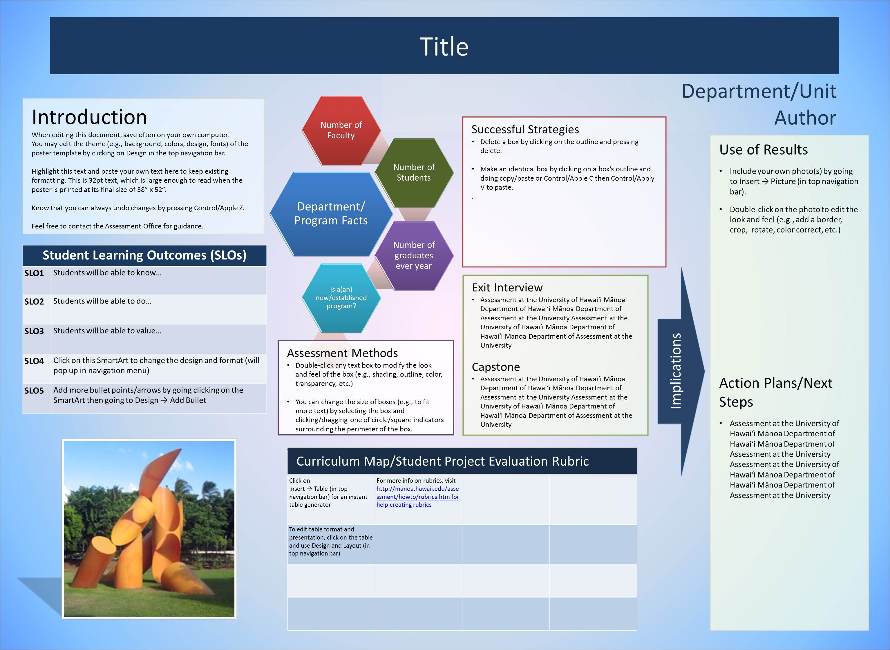 Business Plan Poster Template University Of Hawaii at Manoa assessment Office