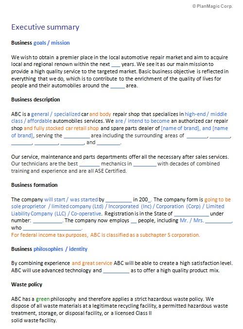 Business Plan Template for Auto Repair Shop Business Plan Templates