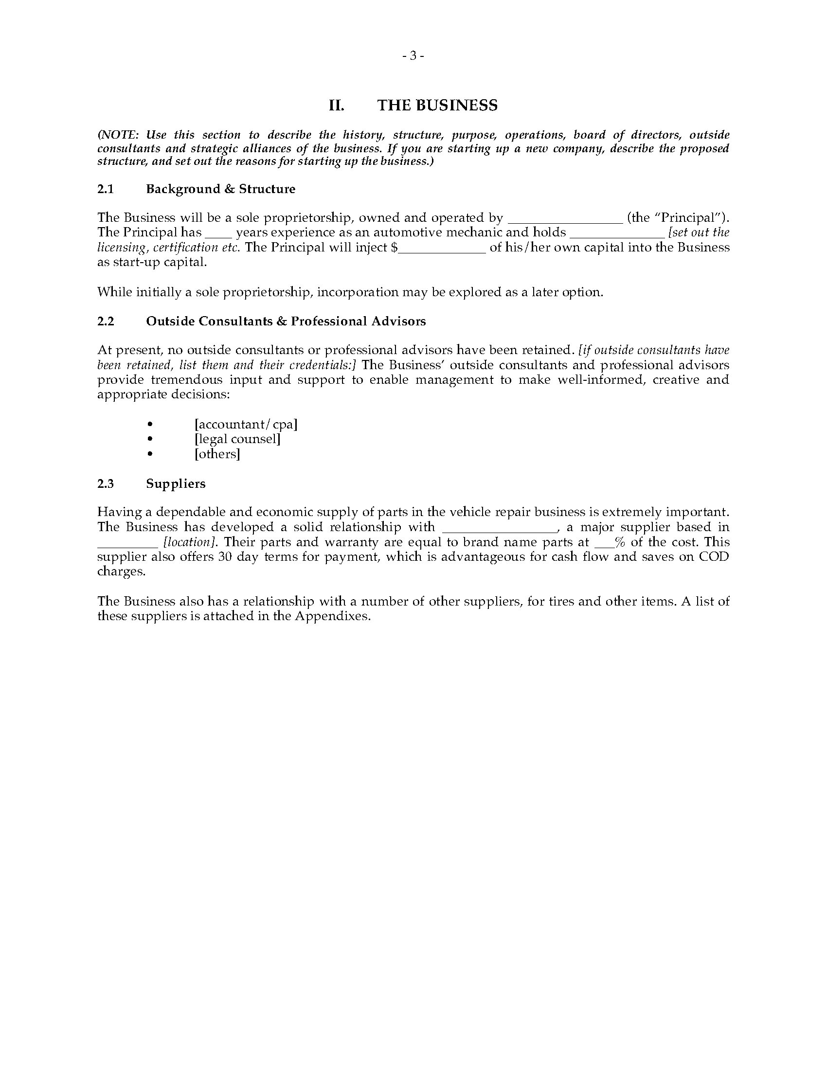Business Plan Template for Auto Repair Shop Garage and Auto Repair Shop Business Plan Legal forms