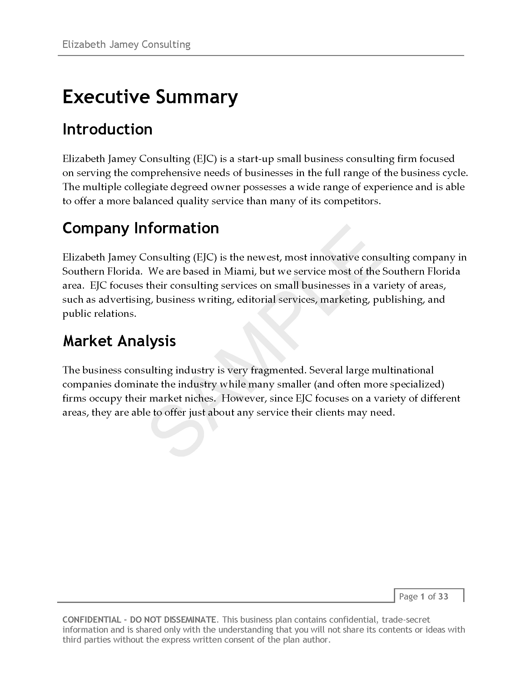 Business Plan Template for Consulting Firm Elizabeth Jamey Consulting Business Plan V3 Page 04 Ej
