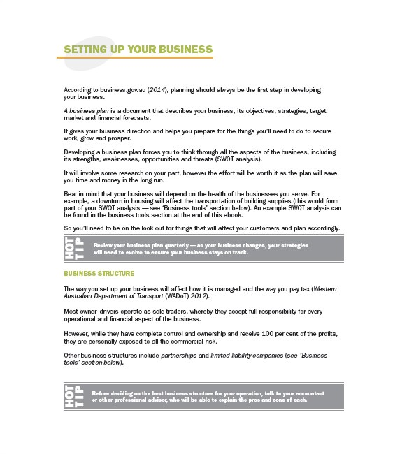 trucking plan business template