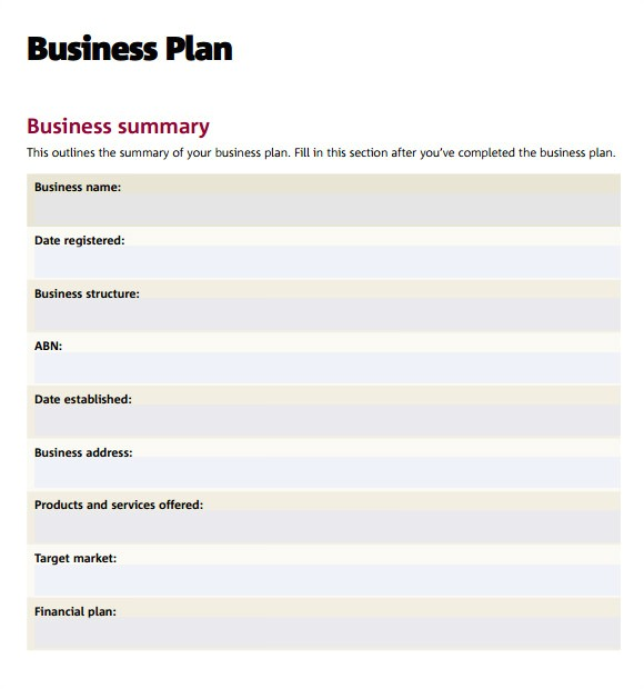 Business Plans Templates Pdf 7 Sample Business Plan Templates Sample Templates