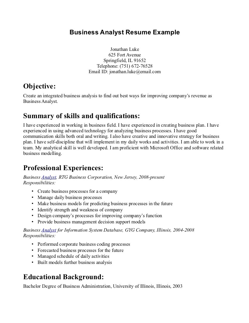 business admin resume 874