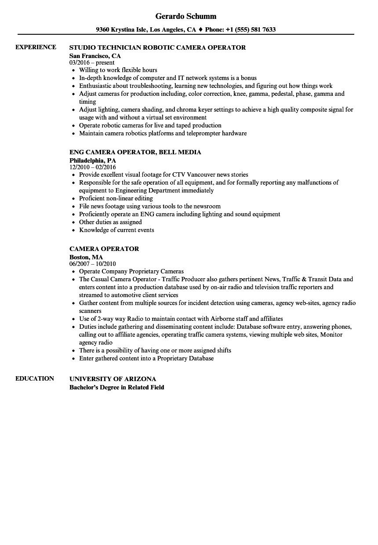 camera operator resume sample