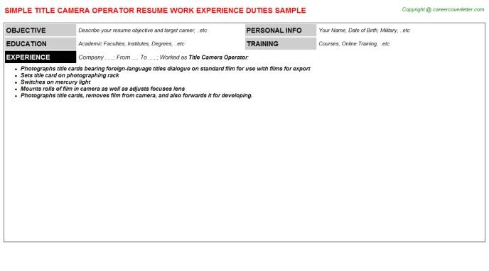 Camera Operator Resume Sample Download Cameraman Resume Sample as Image File Cameraman